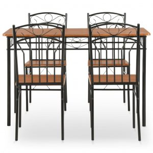 5 Piece Dining Set MDF and Steel Brown
