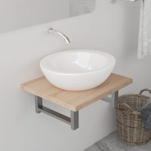 vidaXL Bathroom Wall Shelf for Basin Oak 40x40x16.3 cm