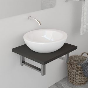 vidaXL Bathroom Wall Shelf for Basin Grey 40x40x16.3 cm