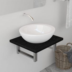 vidaXL Bathroom Wall Shelf for Basin Black 40x40x16.3 cm
