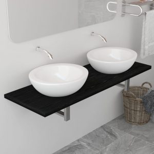 vidaXL Bathroom Furniture Black 120x40x16.3 cm