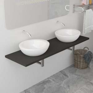 vidaXL Bathroom Furniture Grey 160x40x16.3 cm