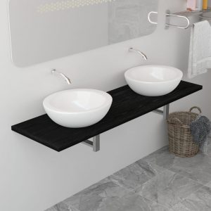 vidaXL Bathroom Furniture Black 160x40x16.3 cm
