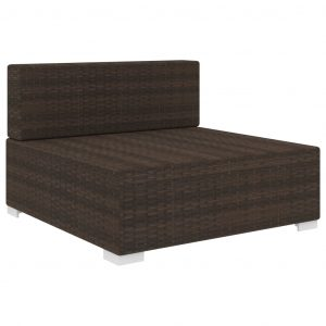 Sectional Middle Seat 1 pc with Cushions Poly Rattan Brown