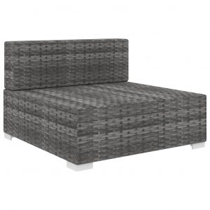 Sectional Middle Seat 1 pc with Cushions Poly Rattan Grey