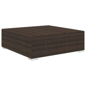 Sectional Footrest 1 pc with Cushion Poly Rattan Brown