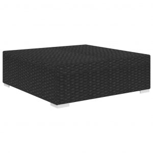 Sectional Footrest 1 pc with Cushion Poly Rattan Black