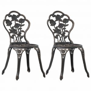 vidaXL Bistro Chairs 2 pcs Bronze Cast Aluminium