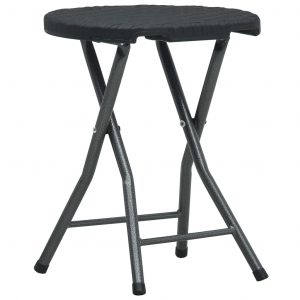 Folding Garden Stools 4 pcs Black HDPE Rattan Look