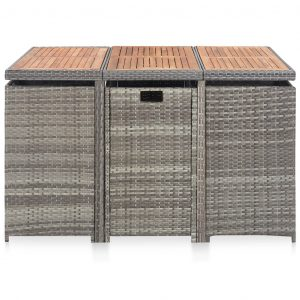 11 Piece Outdoor Dining Set Poly Rattan and Acacia Wood Anthracite