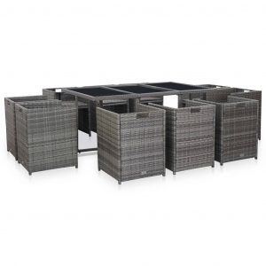11 Piece Outdoor Dining Set with Cushions Poly Rattan Grey
