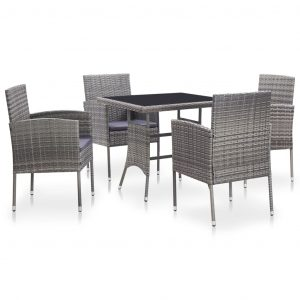 vidaXL 5 Piece Outdoor Dining Set with Cushions Poly Rattan Grey