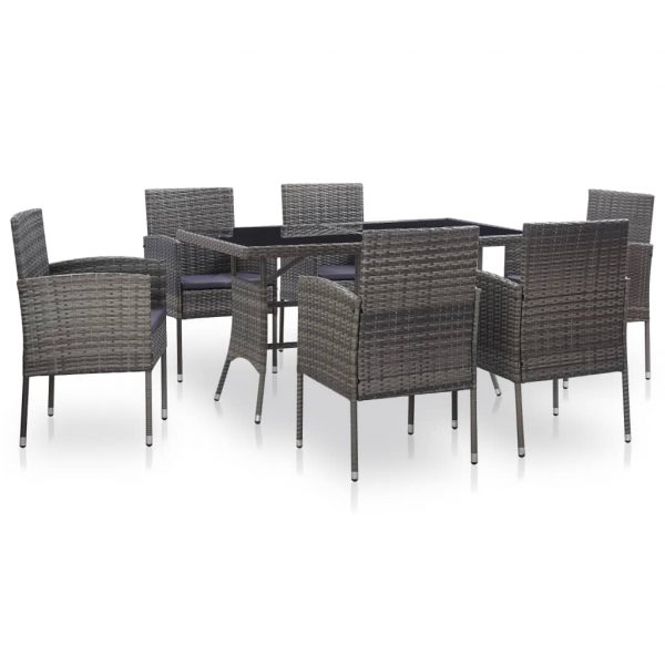 vidaXL 7 Piece Outdoor Dining Set with Cushions Poly Rattan Grey