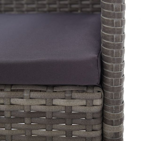 7 Piece Outdoor Dining Set with Cushions Poly Rattan Grey