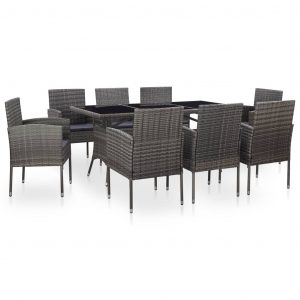 vidaXL 9 Piece Outdoor Dining Set with Cushions Poly Rattan Grey