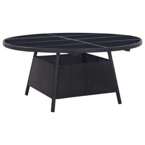 11 Piece Outdoor Dining Set with Cushions Poly Rattan Black