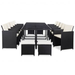 vidaXL 15 Piece Outdoor Dining Set with Cushions Poly Rattan Black