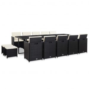 15 Piece Outdoor Dining Set with Cushions Poly Rattan Black