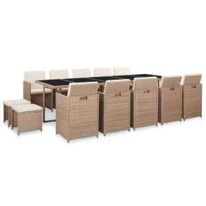 15 Piece Outdoor Dining Set with Cushions Poly Rattan Beige