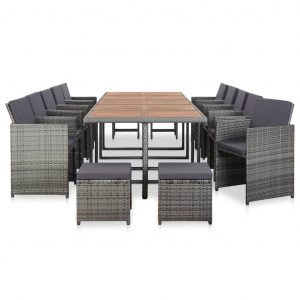 15 Piece Outdoor Dining Set with Cushions Poly Rattan Anthracite