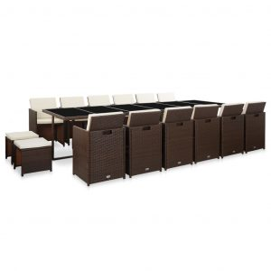 vidaXL 17 Piece Outdoor Dining Set with Cushions Poly Rattan Brown