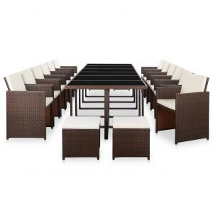 17 Piece Outdoor Dining Set with Cushions Poly Rattan Brown