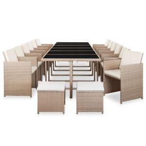 17 Piece Outdoor Dining Set with Cushions Poly Rattan Beige