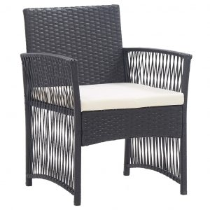 Garden Armchairs with Cushions 2 pcs Black Poly Rattan