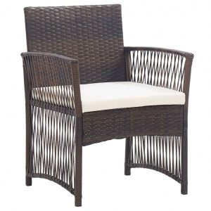 Garden Armchairs with Cushions 2 pcs Brown Poly Rattan