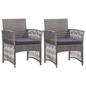 vidaXL Garden Armchairs with Cushions 2 pcs Anthracite Poly Rattan