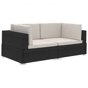Sectional Corner Chairs 2 pcs with Cushions Poly Rattan Black