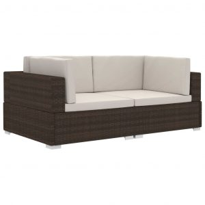 Sectional Corner Chairs 2 pcs with Cushions Poly Rattan Brown