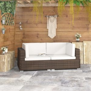 vidaXL Sectional Corner Chairs 2 pcs with Cushions Poly Rattan Brown
