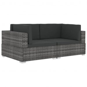 Sectional Corner Chairs 2 pcs with Cushions Poly Rattan Grey