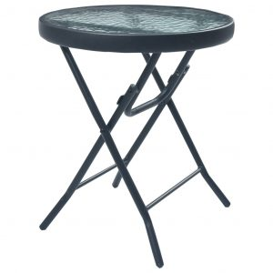 Bistro Table Black 40×46 cm Steel and Glass