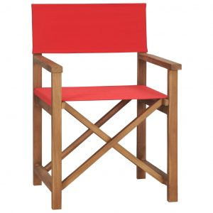 vidaXL Director's Chair Solid Teak Wood Red
