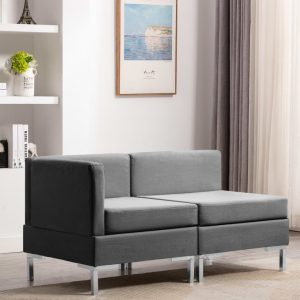 vidaXL Sectional Corner and Middle Sofas with Cushions Fabric Light Grey