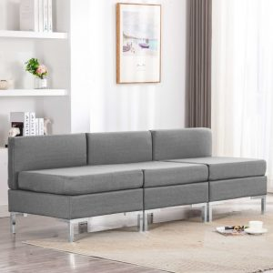 vidaXL Sectional Middle Sofas 3 pcs with Cushions Fabric Light Grey