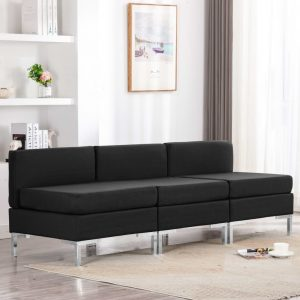 vidaXL Sectional Middle Sofas 3 pcs with Cushions Fabric Black
