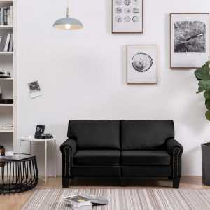 vidaXL 2-Seater Sofa Black Fabric