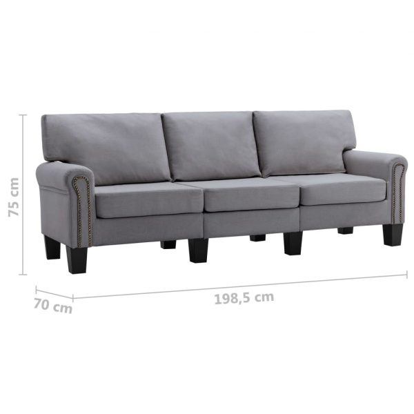 3-Seater Sofa Light Grey Fabric
