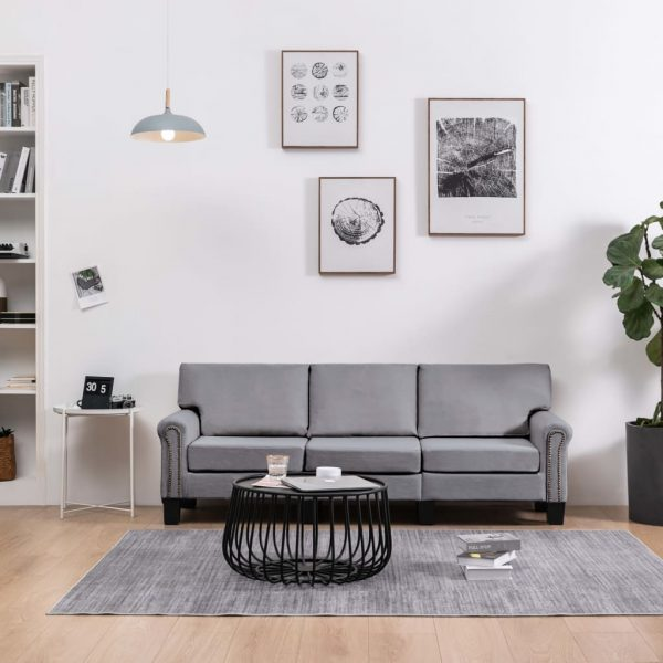 vidaXL 3-Seater Sofa Light Grey Fabric