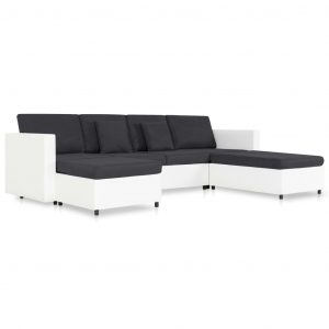 4-Seater Pull-out Sofa Bed Faux Leather White