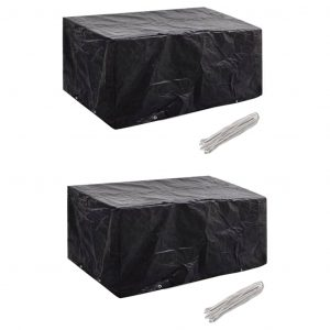 vidaXL Garden Furniture Covers 2 pcs 4 Person Poly Rattan Set 8 Eyelets 180x140cm