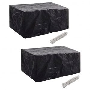 vidaXL Garden Furniture Covers 2 pcs 6 Person Poly Rattan Set 10 Eyelets 240x140cm
