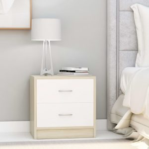 vidaXL Bedside Cabinet White and Sonoma Oak 40x30x40 cm Chipboard