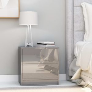 vidaXL Bedside Cabinet High Gloss Grey 40x30x40 cm Chipboard