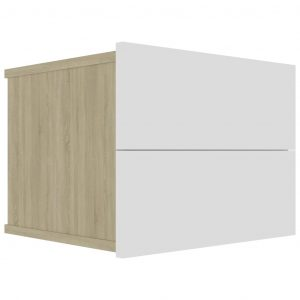 Bedside Cabinet White and Sonoma Oak 40x30x30 cm Chipboard