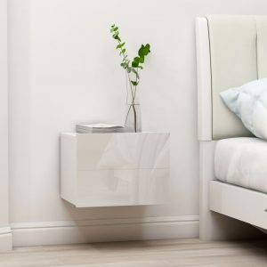 vidaXL Bedside Cabinet High Gloss White 40x30x30 cm Chipboard