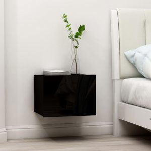 vidaXL Bedside Cabinet High Gloss Black 40x30x30 cm Chipboard